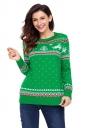 Womens Crew Neck Reindeer Printed Fair Isle Christmas Sweater Green