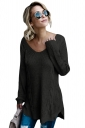 Womens Sexy V-Neck Backless Plain Pullover Cable Knit Sweater Black
