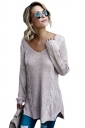 Womens Sexy V-Neck Backless Plain Pullover Cable Knit Sweater Gray