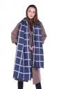 Womens Classic Shawl Tassel Winter Tartan Plaid Scarf Navy Blue