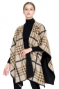 Womens Stylish Thick Shawl Poncho Plaid Scarf Khaki