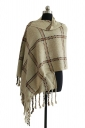 Womens Warm Thick Shawl Tassel Plaid Scarf Beige