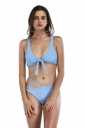 Womens Sexy Sleeveless Bandage Top&String Bottom Plain Bikini Blue