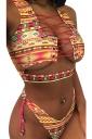 Womens Sexy Lace Up Cut Out Bikini Top&Printed Swimsuit Bottom Orange