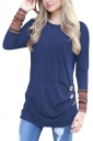 Womens Casual Crew Neck Ethnic Long Sleeve Buttons T-Shirt Blue