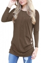 Womens Casual Crew Neck Long Sleeve Buttons Plain T-Shirt Brown