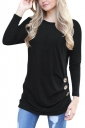 Womens Casual Crew Neck Long Sleeve Buttons Plain T-Shirt Dull Black