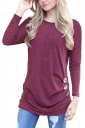 Womens Casual Crew Neck Long Sleeve Buttons Plain T-Shirt Ruby
