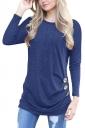 Womens Casual Crew Neck Long Sleeve Buttons Plain T-Shirt Navy Blue