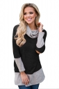 Womens Oversized Long Sleeve Cowl Neck Contrast Color T-Shirt Black