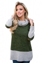 Womens Oversized Long Sleeve Cowl Neck Contrast Color T-Shirt Green