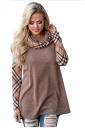 Cowl Neck Long Sleeve Plaid Patchwork Color Block Sweatshirt Khaki