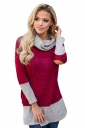 Womens Oversized Long Sleeve Cowl Neck Contrast Color T-Shirt Ruby