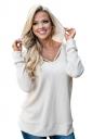 Womens Oversized Hooded Halter Long Sleeve Plain Blouse White