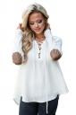 Womens Lace Up Asymmetric Hem Long Sleeve Plain Blouse White
