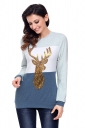 Womens Crew Neck Color Block Reindeer Printed Christmas T-Shirt Blue