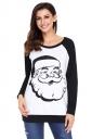 Womens Raglan Sleeve Santa Printed Christmas T-Shirt Black And White