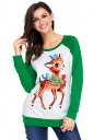 Womens Raglan Sleeve Reindeer Printed Christmas T-Shirt Green