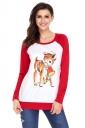 Womens Raglan Sleeve Reindeer Printed Christmas T-Shirt Red