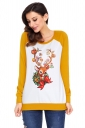 Womens Raglan Sleeve Reindeer Printed Christmas T-Shirt Yellow