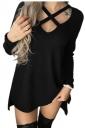 Womens Sexy V-Neck Cut Out High Low Hem Side Slit Plain T-Shirt Black