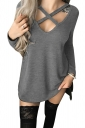 Womens Sexy V-Neck Cut Out High Low Hem Side Slit Plain T-Shirt Gray