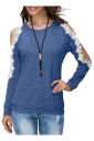 Womens Sexy Cold Shoulder Lace Crew Neck Long Sleeve T-Shirt Blue