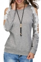 Womens Sexy Cold Shoulder Lace Crew Neck Long Sleeve T-Shirt Gray