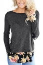 Womens Stylish Crew Neck Long Sleeve Flower Printed T-Shirt Black