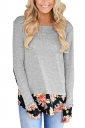 Womens Stylish Crew Neck Long Sleeve Flower Printed T-Shirt Gray