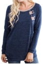 Womens Casual Crew Neck Zipper Button Long Sleeve Plain T-Shirt Blue