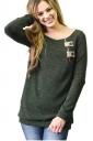Womens Casual Crew Neck Zipper Button Long Sleeve Plain T-Shirt Green