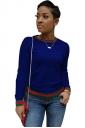 Womens Trendy Crew Neck Long Sleeve Striped T-Shirt Sapphire Blue
