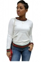 Womens Trendy Crew Neck Long Sleeve Striped T-Shirt White