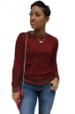 Womens Trendy Crew Neck Long Sleeve Striped T-Shirt Ruby