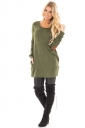 Womens Crew Neck Buttons Pockets Midi Length Plain T-Shirt Green