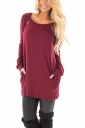 Womens Crew Neck Buttons Pockets Midi Length Plain T-Shirt Ruby