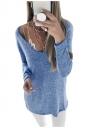 Womens Sexy Deep V-Neck Long Sleeve Plain Blouse Blue