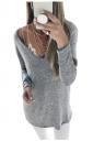 Womens Sexy Deep V-Neck Long Sleeve Plain Blouse Gray