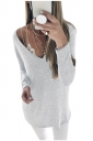 Womens Sexy Deep V-Neck Long Sleeve Plain Blouse White