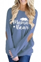 Womens Casual Crew Neck Long Sleeve Words Printed T-Shirt Blue