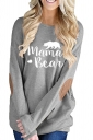 Womens Casual Crew Neck Long Sleeve Words Printed T-Shirt Gray