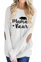 Womens Casual Crew Neck Long Sleeve Words Printed T-Shirt White