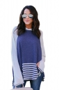 Long Bell Sleeve Color Block High Low Stripe Hem Slit Thin Hoodie Blue