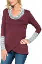 Womens Stripe Cowl Neck Long Sleeve Asymmetrical Hem Sweatshirt Ruby