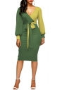 Womens V-Neck Waist Tie Puff Sleeve Color Block Dress Oliver Green