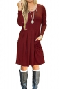 Womens Crew Neck Long Sleeve Loose Pleated Plain Skater Dress Ruby