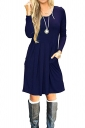 Womens Crew Neck Long Sleeve Loose Pleated Skater Dress Navy Blue