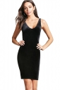 Womens Sexy V-Neck Bodycon Plain Midi Tank Dress Black