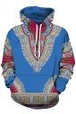 Womens Slant Pocket Drawstring Ethnic Pattern Printed Hoodie Blue